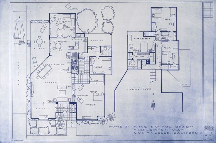 "TV Blueprints. Shown: Brady Bunch residence. Also includes blueprints for ""George and Weezie's deeeeluxe apartment in the sky"", Gilligan's Island, I Dream of Jeannie's Bottle, Bewitched Home, Flintstones, Jetson's and Luke Skywalker's childhood home."