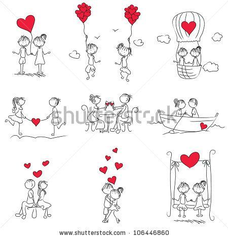 cartoon couple doodle with red heart shape - stock vector