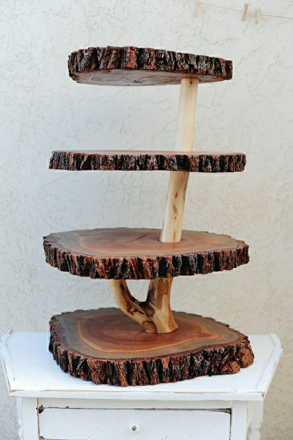 decoration pour table aux pieces du tronc d'un arbre