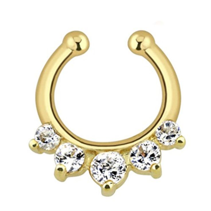 BodyJ4You® Non-Piercing Fake Septum Hanger Clip On Paved Gem