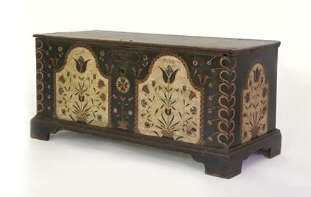 Dower Chest with checker bordered floral panels, Berks County, Pennsylvania, 1794