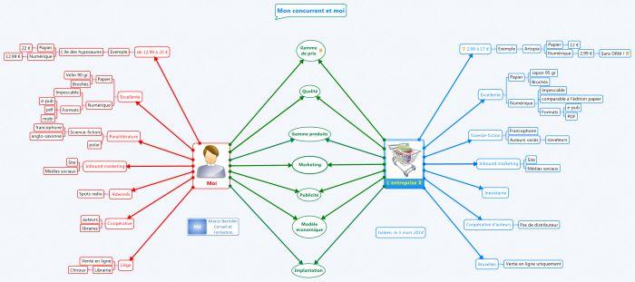 Analyse de la concurrence avec une double-bulle réalisée avec le logiciel de mindmapping XMind.