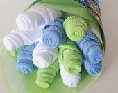Baby Washcloth Bouquet, Baby Boy Baby Gift, Blue and Green Washcloth Flowers, Planes Trains and Cars Baby Shower, Its A Boy Baby Shower