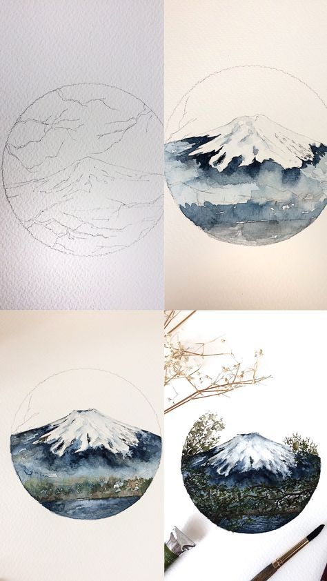 (@rosies.sketchbook) Process photos of my watercolor painting of Mount Fugi. #watercolor #watercolour #painting #sketch #art #artist #artwork #draw #drawing #doodle #watercolorist #illustration #illustrate – Meghan Cella
