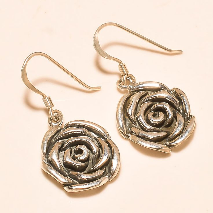 92.5% SOLID STERLING SILVER MARVELOUS ROSE DESIGN EARRING 3 CM #Handmade
