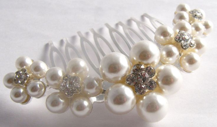 Vintage Style Silver Pearl Crystal Hair Accessory Comb Bridal Bridesmaid Races