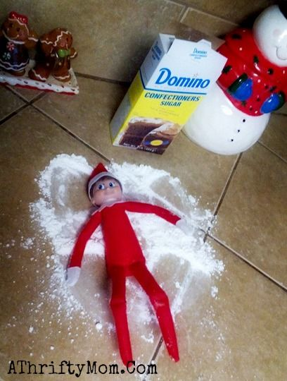 Elf on the Shelf easy ideas, What to do with your Elf, Silly Ideas for your Christmas Elf on the Shelf day 1 .jpf