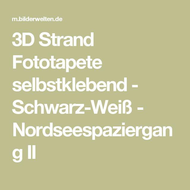 3D Strand Fototapete selbstklebend - Schwarz-Weiß - Nordseespaziergang II