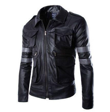 Men Faux Leather Jacket, Plus Size Jackets, Brown, Black