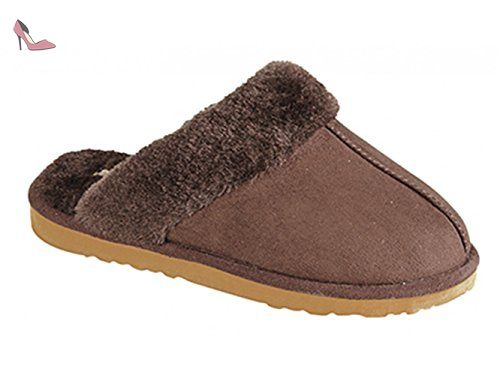 TONI Ladies Faux Suede Warm Lined Mule Slippers Dark Brown - Chaussures dunlop (*Partner-Link)