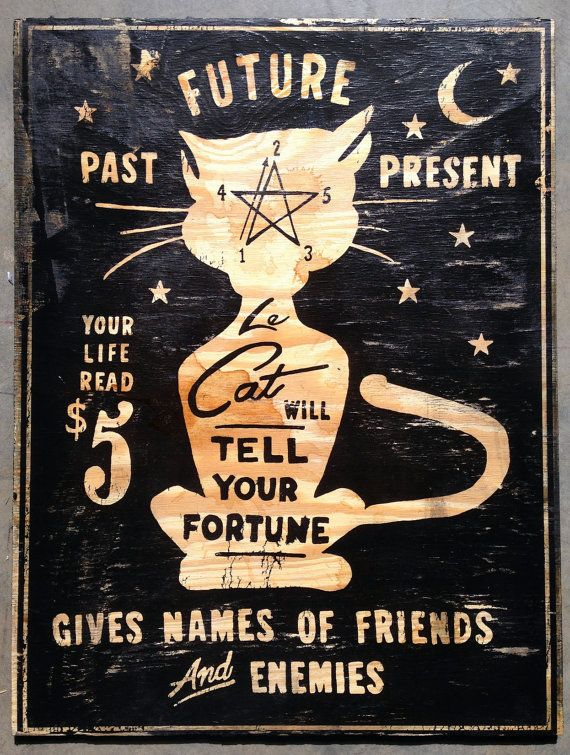PSYCHIC CAT sign by OldDirtyType on Etsy, $85.00