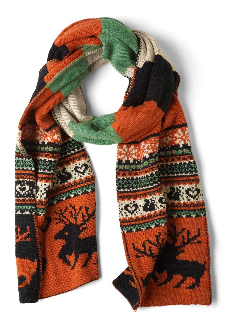 Let's Be Fair Isle Scarf - Novelty Print, Orange, Green, Tan / Cream, Winter