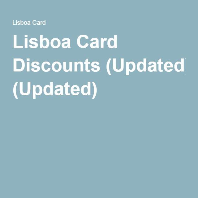 Lisboa Card Discounts (Updated)