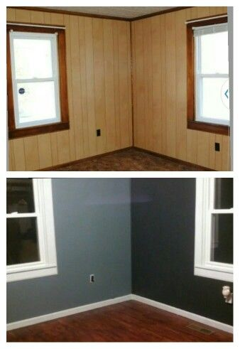 Painted paneling and refinished hardwood floors