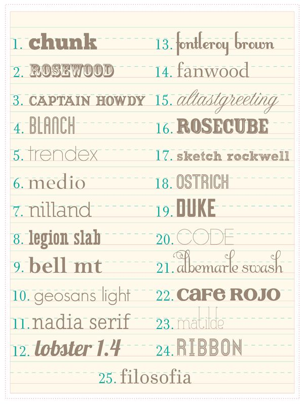 FREE fonts (check to see if they can be used commercially!)