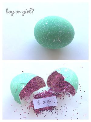 Glitter egg gender reveal party idea. Outrageous!