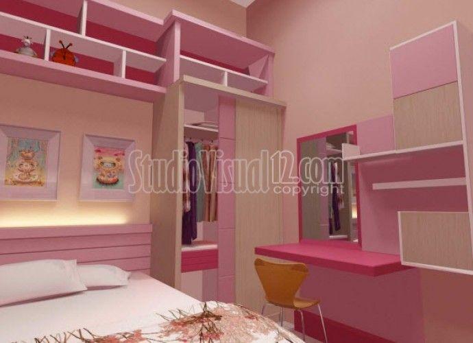 Desain Minimalis Kamar Tidur Anak Perempuan Nuansa Warna Pink