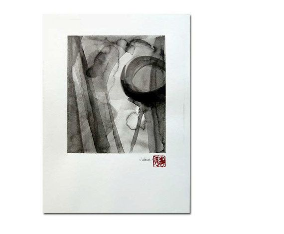 Six  an original black on white ink wash painting by VictoriaKloch