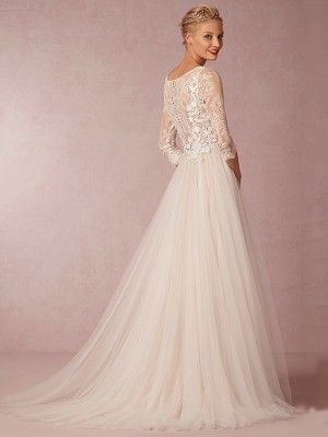 A-Line/Princess Scoop Neckline Sweep/Brush Train Tulle Wedding Dress With Applique at HerDress Online