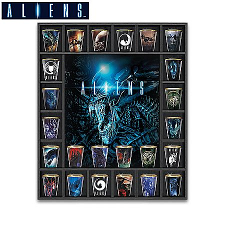 Aliens Shot Glass Collection With Custom Wooden Display Case