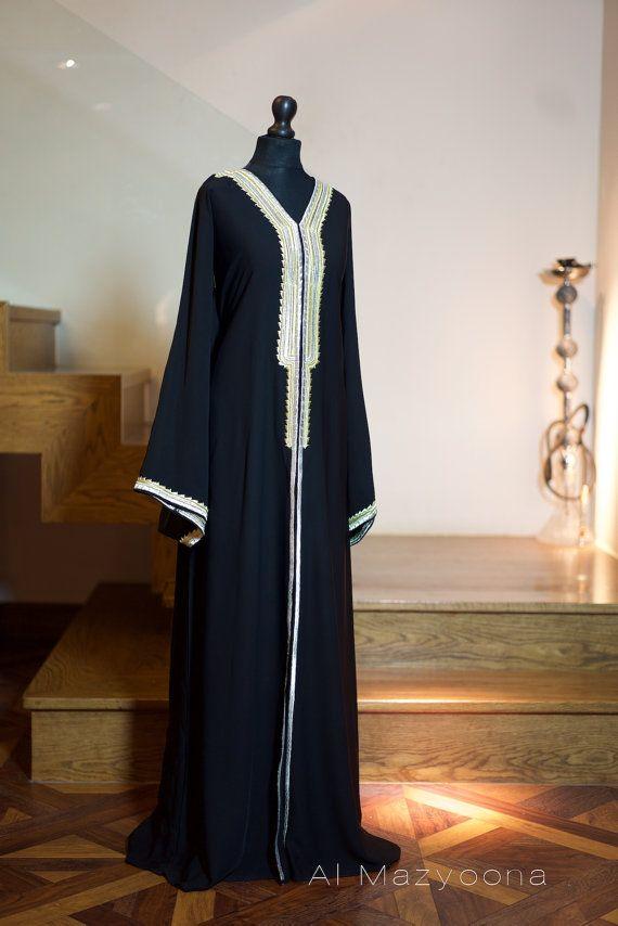 Al Mazyoona Black Embroidered Party Wedding Bisht Abaya Dubai Arabic Jalabiya Khaleeji Kaftan Maxi $240.21