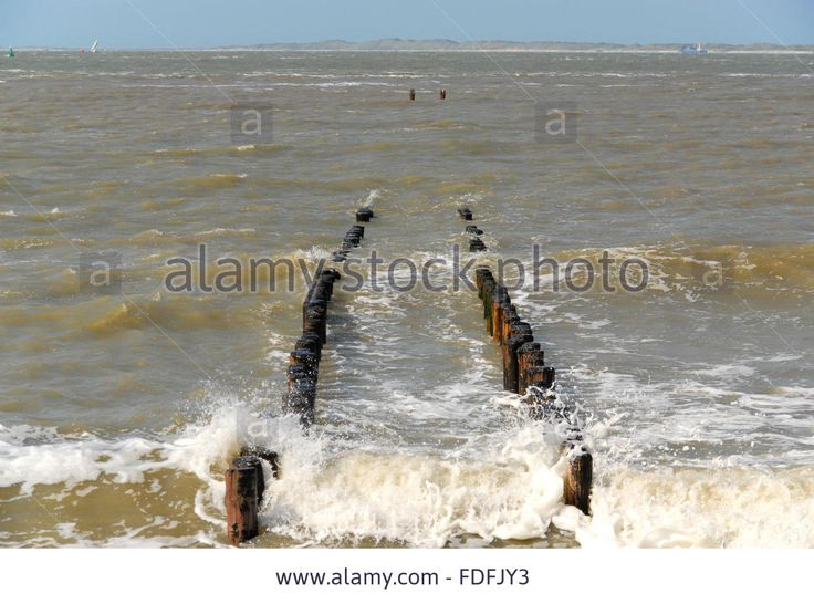 Wave Breaker At The Dutch Coast During High Tide Stock Photo, Picture And Royalty Free Image. Pic. 94386519