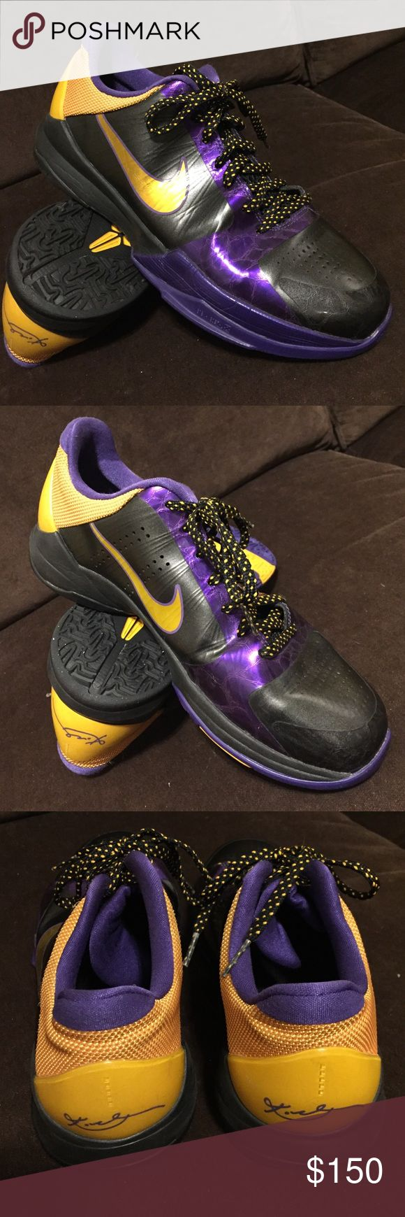 Mint Nike Kobe V away Lakers gold purple 8.5 40 EU Near deadstock condition marked 7Y which is women's 8.5 and 40 EUR. Original laces and insert. Collectible and hard to find. Nike Shoes Athletic Shoes