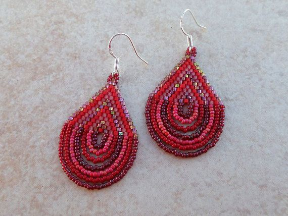 Peyote Earrings Red Watermelon Womens Beaded Earring by Lasunka