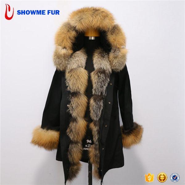 Pure Black Fabric Natural Color Real Raccoon Fur Parka Coat