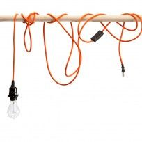 Orange Pendant Light Cord...multiple cords wrapped/tangled around a suspended rod could be cool. cords $20/each
