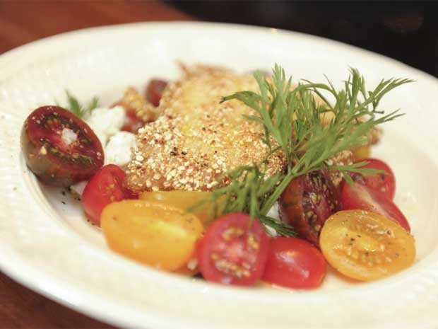 Cornmeal Crusted Yellow Perch with Cherry Tomato Salad.