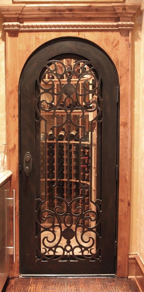 Wrought Iron Hand Forged Custom Wine Cellar Door Dallas Design Style Installed