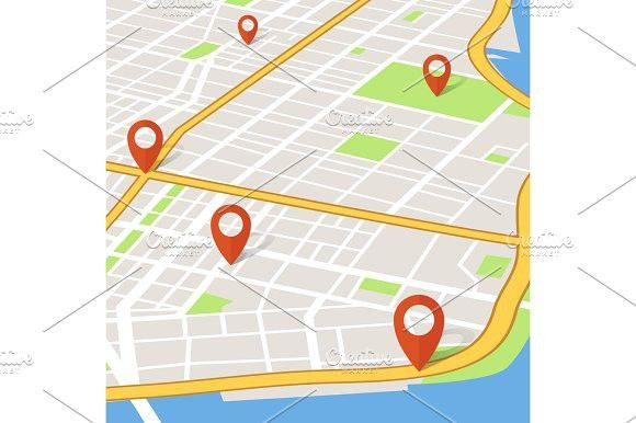 Perspective 3d city map with pin pointers  Abstarct gps