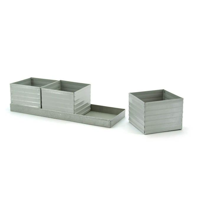 Square Herb Pots with Tray Set (3+1) 9cm Pot | Oceans Floral -Tinware is very versatile, whether you want troughs for hampers or corporate gifts, or buckets and tall tins for flowers; our v-shape tins with ear handles are great for displaying flowers plus our plastic pots and vases pop inside nicely for a water tight option. Our smaller tins work great for gifts, posies, wedding favours, children's parties and baby showers.