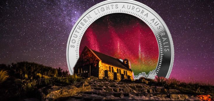 2017 Southern Lights Silver Holographic Coin from New Zealand