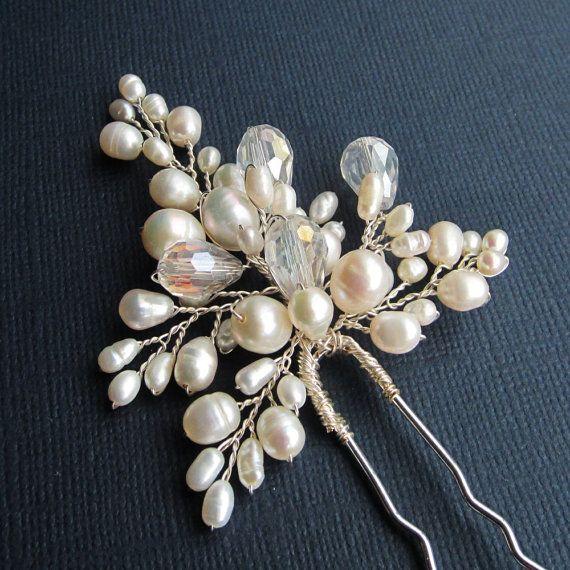 Bridal Flower Hair Pin ANN Hair Pin Wedding by AdrianaSparksBridal