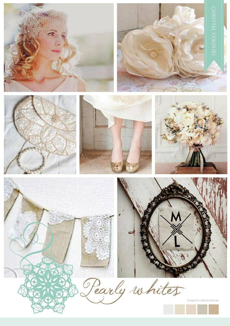 Vintage inspired cream and white mood board made by Chrystalace Wedding Stationery.
