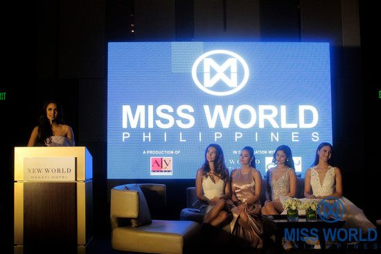 Miss World 2013 Megan Young with Miss World Philippines Queens,Gwendoline Ruais, Miss World 2011 1st Princess, Queenie Rehman, Miss World 2012 Top 15 Semi Finalists, Hillarie Parungao, Miss World 2015 Top 11 Semi Finalists and Catriona Gray, Miss World 2016 3rd Princess during the Miss World Philippines Media Conference held at the New World Makati Hotel.  Photo: Dennis Natividad for Miss World Philippines Organization