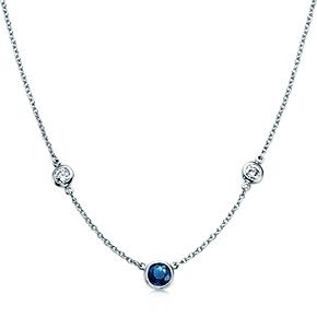 "Elsa Peretti® Diamonds by the Yard® necklace with a sapphire in platinum. - my something ""blue"" from Z (he is the greatest <3 )"