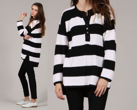 vintage striped sweater // black white stripe // by shopCOLLECT,