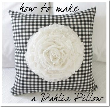 Easy DIY Ruffle Flower pillow with the help of a hot glue gun.  @TheSewingLoft