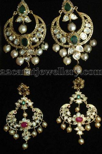 Jewellery Designs: Pachhi Work Chandbalis