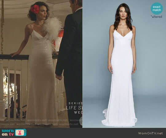 7f802863535b Cristal s white sequin gown on Dynasty. Outfit Details  https   wornontv.