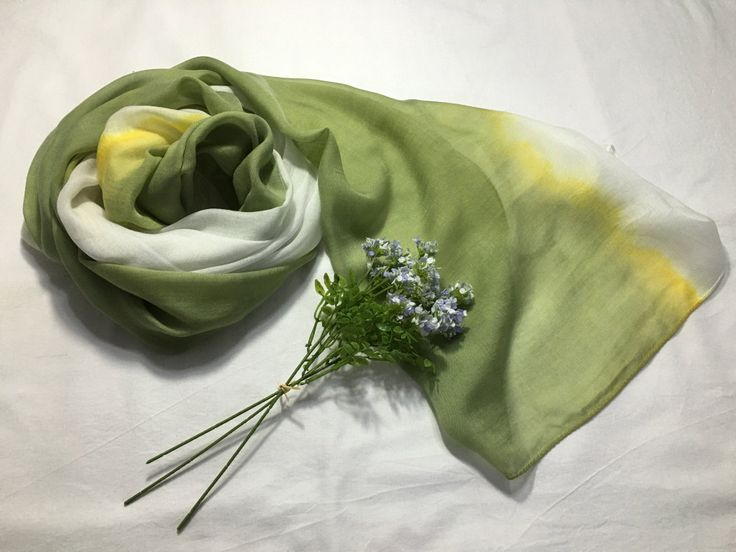 Natural dyed scarf (Tencel) by sanchaeg on Etsy
