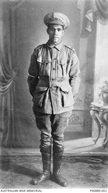 Studio portrait of 4259 Private (Pte) George Combo, an Aboriginal serviceman from Mogil Mogil, near Collarenebri, NSW, who enlisted on 21 May 1916. P00889.002 | Australian War Memorial