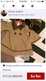 I bought Charlotte this absolutely adorable coat with matching hat for the upcoming party season. I usually get nervous about buying kids clothes online, but I was able to message the seller and ask her how it fit her daughter. She so kindly took a photo of her daughter wearing it so I would know how it would fit my little one. This was a steal at $10, and (I may be biased) but I think it looks smashing on her!