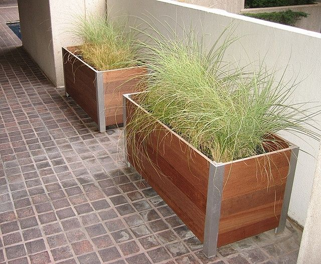Wooden Planter Box Stained Cedar Metal Corner Detail