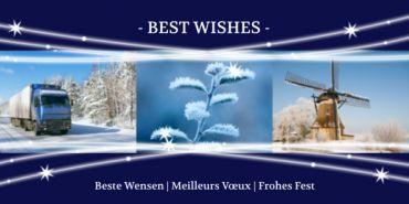 Zakelijke kerstkaart, drie de afbeeldingen, vrachtwagen in de sneeuw, winterse takken en molen in winters landschap. Ideaal om uw zakelijke relaties uit de transportsector buiten Nederland te sturen.