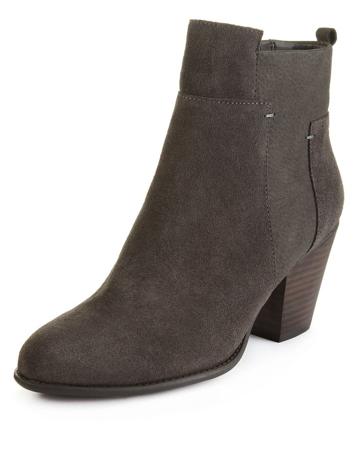 Footglove Suede Panelled Wide Fit Ankle Boots with Stain Away