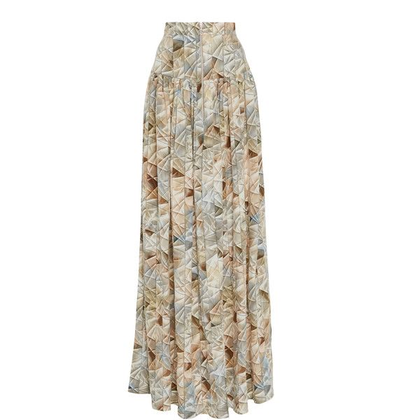 Christina Economou High Waisted Pleated Maxi Skirt ($765) ❤ liked on Polyvore featuring skirts, print, high-waisted maxi skirt, long pleated skirt, floor length maxi skirt, high-waist skirt and brown maxi skirt